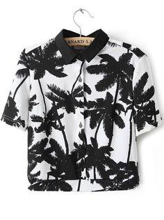 White Short Sleeve Palm Trees Print Crop Blouse - Sheinside.com