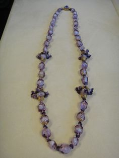 RARE Miriam Haskell Signed Vintage 30's Purple Art Glass Necklace