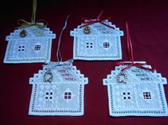 Hardanger Ginger Bread House Ornaments - stitchin fingers
