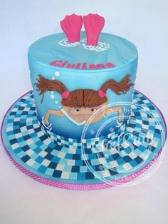 I just thought I'd post my version of the very popular swimming cake. Pool Birthday Cakes, Pool Party Cakes, Birthday Cake Girls, Cakes To Make, Just Cakes, Swimmer Cake, Theme Sport, Sea Cakes, Girly Cakes