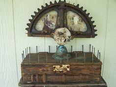 Industrial Photo Display on a Vintage Metal Piece