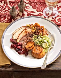 The @The Lee Bros. #Thanksgiving menu: Smoked-Paprika-Rubbed Turkey, Corn Bread and Sausage Stuffing, Cold Brussels Sprout Slaw,  Lemon-Glazed Sweet Potatoes,  Cranberry-Ginger Sauce, and Sweet-Potato Pie