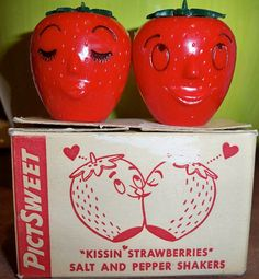 **vintage strawberry salt and pepper shakers