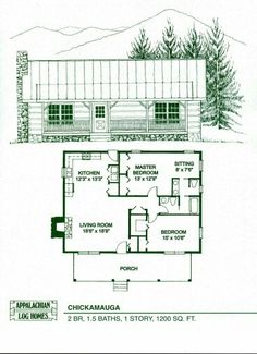 Log Home Floor Plans - Log Cabin Kits - Appalachian Log Homes - Small Tiny Houses Log Cabin Kits, Cabin House Plans, House Plans One Story, Tiny House Cabin, Log Cabin Homes, Tiny House Living, Small House Plans, Log Cabins, Small Cabins