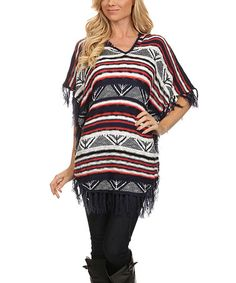 $24.99 Navy & Red Geometric Stripe Hooded Fringe Sweater #zulily #zulilyfinds