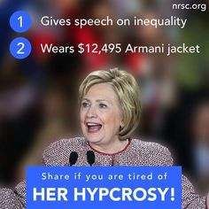She's for new world order and thinks sharia law is liberating for women, so much for women's rights! She's funded by the muslim brotherhood and the bilderberg group, she's their puppet! Let's get rid of the political corruption in our great country, VOTE TRUMP!!! Women for Trump!!!