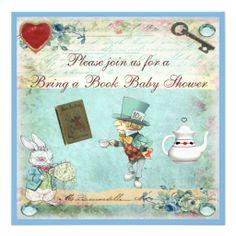 Bring a Book Alice in Wonderland Baby Shower Custom Invitation