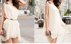 Women's Apricot Chiffon Refreshing Dress With Shoulder Board Sleeveless Scoop Neck Casual Design Scoop Neck, White Dress, Chiffon, Casual, Shirts, Shoulder, Board, Dresses, Design