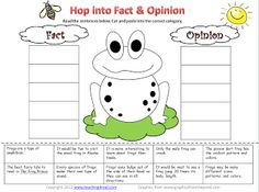 Freebie Fact/Opinion Sort.....and learn about frogs at the same time.