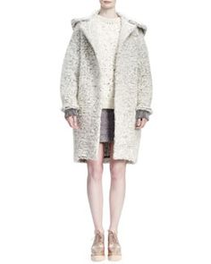 -552D Stella McCartney Soft Wooly Boucle Caban Coat, Long-Sleeve Crochet-Embroidered Sweater & Corded Rope-Applique Tweed Skirt
