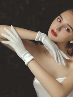 Gloves Fashion, Fabric Embellishment, Wedding Gloves, White Bridal, Surprise Gifts, Fashion Outfits, Womens Fashion, Satin Fabric, Wedding Accessories