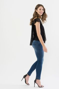 6b3eb9a7a7226 Suzy Shier Flutter Sleeve Top with Lace Overlay
