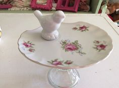 Shabby Chic Bird Bath - Bird Feeder - Garden Totem - Yard Art - Jewelry Pedestal Holder - Centerpiece Cupcake Stand - Pink Roses China Plate by ShabbyPinkGarden on Etsy https://www.etsy.com/listing/247110279/shabby-chic-bird-bath-bird-feeder-garden