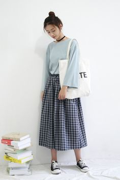 Love the shirt and skirt together but I think some different shoes would look better with it #koreanfashionstyles,