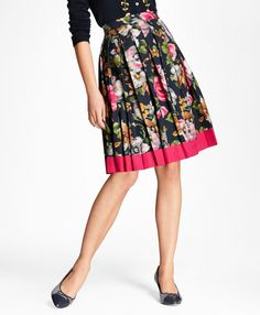 a891a0dfe Brooks Brothers Floral-Print Cotton Sateen Pleated Skirt Brooks Brothers, Pleated  Skirt, Midi
