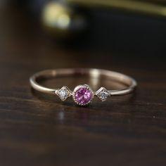 Pink Tourmaline Star & Moon Ring