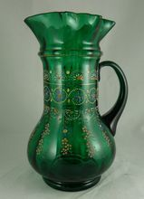 Victorian Enamel Decorated Blown Glass Pitcher Ruffled Rim from Ornaments on Ruby Lane