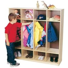 Wood Designs 4-Section Coat Locker - Each coat locker has 4 double hook sections that are 15 inches deep with storage above and below to store shoes and other apparel to help keep each child's items organized neatly together. These wooden lockers are constructed of 100 percent Healthy Kids Plywood and Wood Designs exclusive Tuff-Gloss UV finish for added style and durability.  [WD15000]
