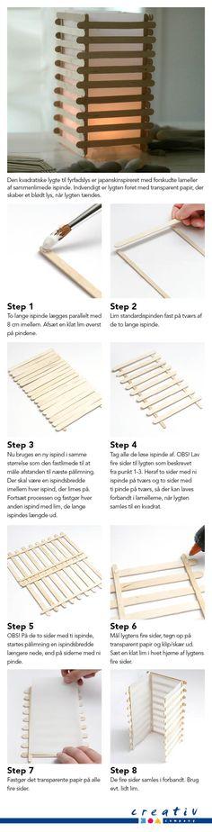 Japansk lygte af ispinde i lameller - Den kvadratiske lygte til fyrfadslys er japanskinspireret med forskudte lameller af sammenlimede ispinde. Indvendigt er lygten foret med transparent papir, der skaber et blødt lys, når lygten tændes.