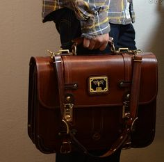 Business Briefcase - Brown Latigo Leather, Design, Moose, Art Urbane