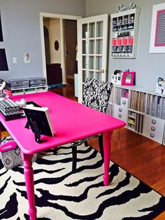 62 Ideas Craft Room Pink Office Decor For 2019 Home Design, Home Office Design, Interior Design, Pink Office Decor, Home Office Decor, Office Ideas, Pink Crafts, Craft Room Storage, Craft Rooms
