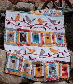 Applique Lap Quilt & Throw Patterns - Free as a Bird Quilt Pattern Cute Quilts, Small Quilts, Mini Quilts, Quilts For Kids, Bed Quilts, Quilt Baby, Bird Applique, Applique Quilts, Quilting Projects