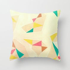 Geometric Throw Pillow Artwork printed on Pillow Unique Light Colors Throw Pillow
