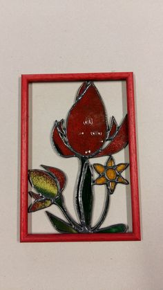 zarámované kvety spekané sklo-fjuzing spájané s vitrážou