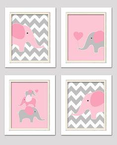 Vivero rosa y gris elefante vivero arte rosa y gris por ChicWallArt