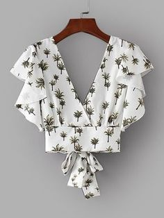 Shop Foliage Print Tie Back Crop Blouse online. SheIn offers Foliage Print Tie Back Crop Blouse & more to fit your fashionable needs.
