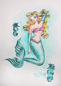Pin Up Mermaid - original painting by Miss Fluff http://cgi.ebay.com/ws/eBayISAPI.dll?ViewItem&item=181329842758