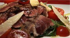 Beef Flank Steak with Rocket, Pachino Tomatoes, Parmesan Flakes and Balsamic Vinegar (Tagliata di manzo con rucola, pachino, scaglie di parmigiano e aceto balsamico)