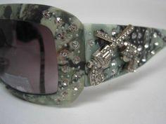 Montana West Green Camo Sunglasses Rhinestones Double Gun Accent with Camo Case