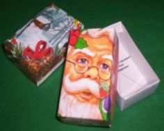 Christmas gift box from recycled Christmas Cards!!!! LOVE
