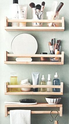 56 ways to use IKEA spice racks anywhere in your room ., 56 ways to use IKEA spice racks anywhere in your room . Bathroom Shelves Over Toilet, Small Bathroom Storage, Ikea Hack Bathroom, Small Bathrooms, Basket Bathroom Storage, Small Room Storage Ideas, Pedestal Sink Storage, Diy Bathroom Sink Ideas, Organization For Small Bathroom