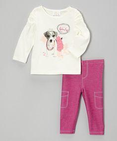 White Dog Top & Pink Leggings - Toddler