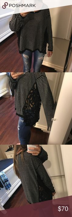 Free people long sleeve shirt! Black and white striped long sleeve with lace on both sides! Free People Tops Tees - Long Sleeve