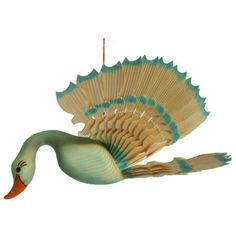 Blue Swan Wood Carving, Fan Carved Bird Mobile, Lake House Decor... ($44) ❤ liked on Polyvore featuring home, home decor, wooden folk art, folk art, bird folk art, wood home decor and mobile home decor