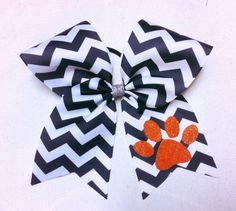 Chevron Cheer Bow in Black And White with by GirlyThingsandBlings