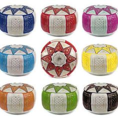 pouf moroccan Leather Quality Ottoman Pouf Pouffe Handmade