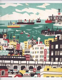 The Port of Kobe.From 100 views of Kobe by Hide Kawanishi.
