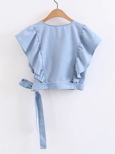 Surplice Front Ruffle Trim Knot Detail Denim Top