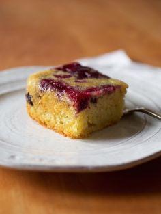 Upside Down Blueberry Einkorn Cake | The Jovial Blog