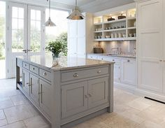Contemporary Shaker Kitchen Tom Howley - the island is painted in Chicory