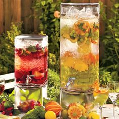 These Metro Beverage Servers are perfect for any summer gathering. These beverage servers let you share your favorite lemonade or sangria and display it as your work of art at the same time!