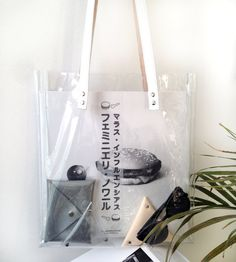 CLEAR PVC TOTE Silver Leather Straps Clear Purse See by OUIPLEASE