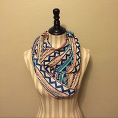 Aztec infinity scarf Pink and blue Aztec infinity scarf Accessories Scarves & Wraps