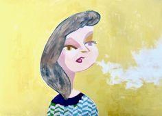 Souls #2  #illustration #contemporaryart #popart #painting #catgirl #fashion #yellow #lovely #japan #comic #cartoon #figurative #portrait