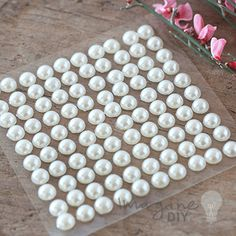 6mm stick on pearls for decorating wedding invitations, stationery, card making and paper crafts