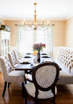 beautiful dining room adorned with brass chandelier tufted bench tufted dining chairs grasscloth - Dining Room Tables Austin